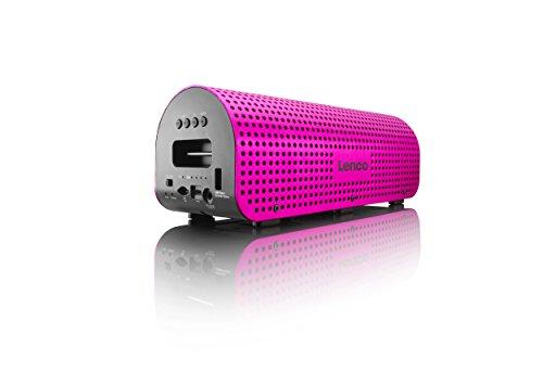 Lenco GRID-7 tragbarer Bluetooth-Lautsprecher (11 Watt RMS, 3,5 mm Klinke, USB) inkl. Tragegurt, Netzkabel und Kabel zum Aufladen pink