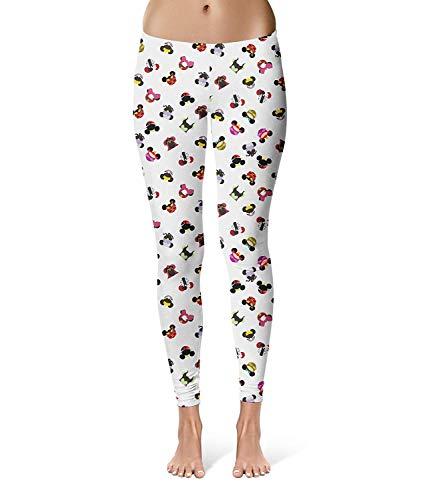 Betrothales Damen Mode Gedruckt Disney Stilvolle Ears Villains Sport Leggings Mouse Unikat Fitness Skinny Stretch Trousers Jogginghose (Color : Colour, Size : 2XL)