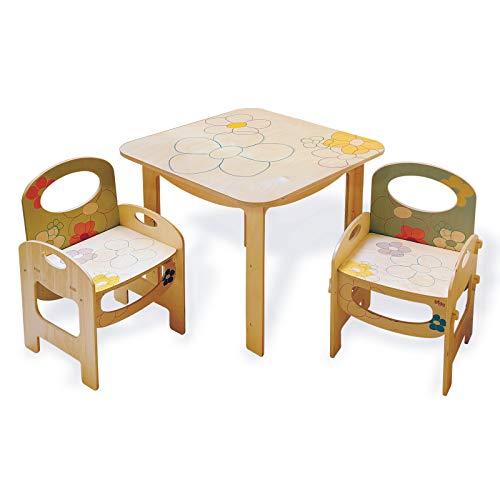Dida - Holztisch für Kinder- ideal für das Kinderzimmer und den Kindergarten. Dekoration: Blumen - Oberfläche 60 cm x 60 cm, Höhe 51 cm