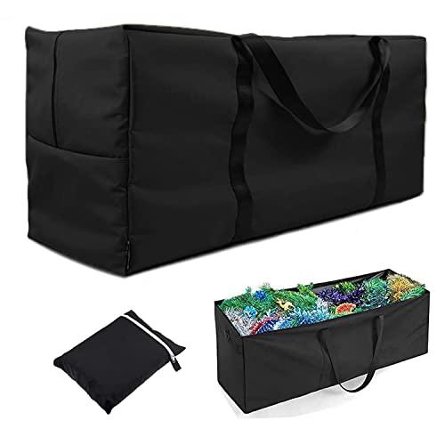 Enzeno Bolsa de almacenamiento de cojín para muebles de jardín, tela Oxford 420D, impermeable, anti-UV, resistente bolsa de almacenamiento para árbol de Navidad con asa de (125 x 40 x 55 cm)