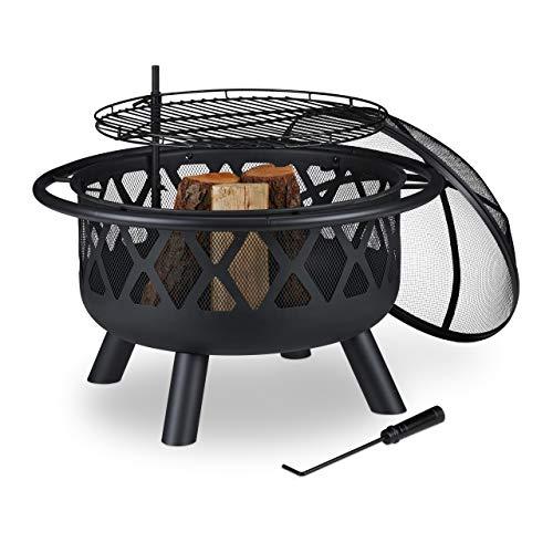Relaxdays Feuerschale mit Grillrost, Funkenschutz & Schürhaken, Ø 75 cm, Stahl, Feuerstelle Garten & Terrasse, schwarz