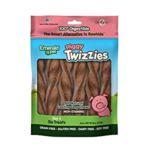 Emerald Pet – Dog Chews, Chew Treats, Rawhide Free, All-Natural Chew Sticks, Lasting Dog Treat, 100% Digestible, Grain-Free, Gluten-Free (Twizzies, Size 6), Pink, 00213