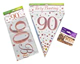 #brand# 90th Birthday Decoration Kit Banner Bunting Confetti Rose Gold Him Her Men Women