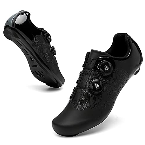 WPW Men's Cycling Shoes, Compatible with Indoor Mountain Road Bike Peloton SPD Shoes for Delta Cleats Clip to Lock Pedal (Color : B black road, Size : UK-6/EU40/US-7)