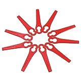 QILIN 10Pcs Cuchillas Cortador de Césped, Cuchilla de Repuesto para Cortacésped, Cuchillas de Plástico Hierba, Cuchillas de Recambio para Cortacésped Rojo