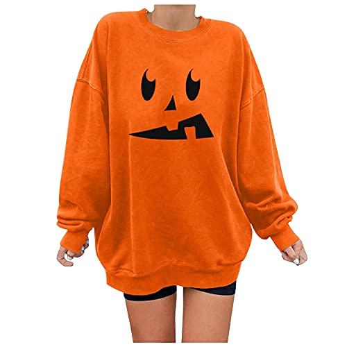 LianMengMVP Damen Pullover Slim fit Plus Größe Halloween Hemd Kürbis Skeleton Bluse Herbst und Winter Lange Ärmel Slim Shirts Basic Pullover Blusen Oberteile Shirt