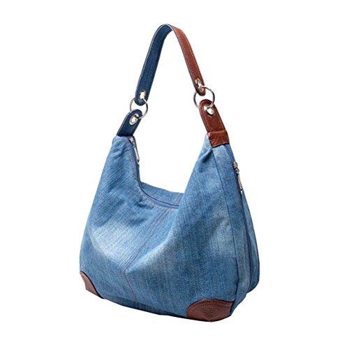 Damen Mädchen Handtasche Schultertasche Jeans Tasche Umhängetasche Shopper,Blau