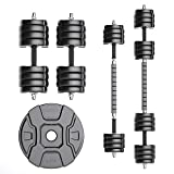 RUNWE Adjustable Dumbbells Barbell Set, Free Weight Set with Steel Connector at...