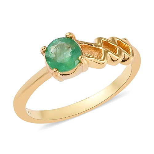 TJC Emerald 14ct Gold Overlay 925 Sterling Silver Solitaire Ring 0.500 Ct. Size T