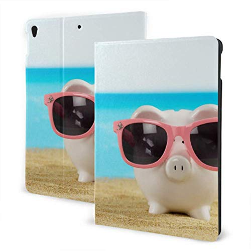 iPad Tablet Cover 2019 iPad Air3/2017 iPad Pro 10.5 Inch Case/2019 iPad 7th 10.2 Inch Case Piglets With Sunglasses On The Beach In Summer Fun iPad Cover Auto Wake/sleep
