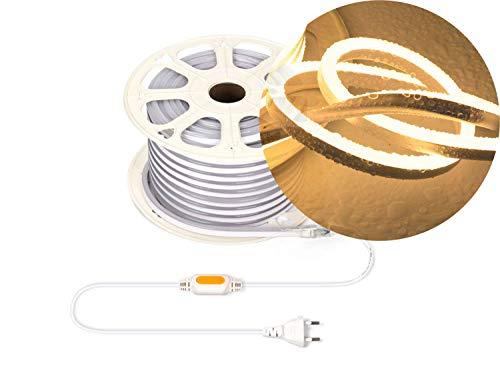 Ogeled Tira de luces LED de neón de 1 a 50 m, blanco cálido, blanco neutro, blanco frío, sin puntos de luz, resistente al agua, para interior/exterior, 230 V, regulable (blanco cálido, 2 m)