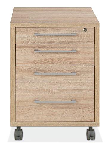 Container Rollcontainer Schubladenschrank | Braun | Eiche | 4 Schubladen | Abschließbar