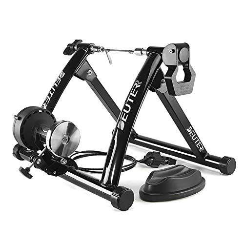 CXWXC Indoor Bike Trainer, Portable Bicycle Magnetic Resistance Exercise Stand with Noise Reduction Wheel Black (Black)