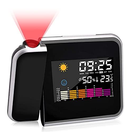 Punvot Wecker mit Projektion, LED Projektion wecker Digital Wecker mit Snooze-Funktion, Wetterstation Wecker für Schlafzimmer Innen Außentemperatur Projektionsuhr, Batterie und USB Aufladung (Schwarz)