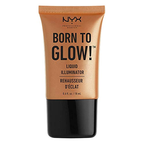 NYX Professional Makeup Born to Glow Liquid Illuminator, Flüssiges Schimmer Makeup, Highlighter, Foundation Base, Vegane Formel, Farbton: Pure Gold