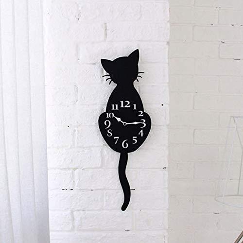 Klassieke witte en zwarte kat houten dier cartoon wandklok, creatieve woonkamer slaapkamer mute klok muur horloge,53cm