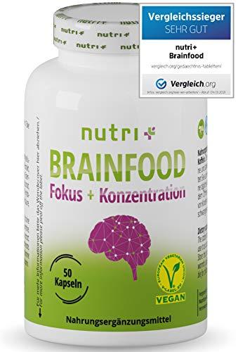 Konzentration Kapseln - Brain Booster - TESTSIEGER - Gehirn Fokus Leistung - Lernhilfe Tabletten hochdosiert mit Koffein, Cholin, Ginseng - Nutri-Plus Brainfood - vegan