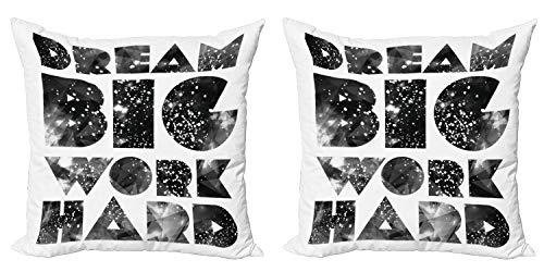 ABAKUHAUS Indie Set de 2 Fundas para Cojín, Palabras con Galaxy Estrellas, con Estampado en Ambos Lados con Cremallera, 45 cm x 45 cm, Negro Gris Blanco