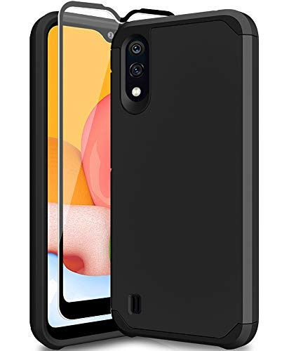 SunRemex Galaxy A01 Case with 9H Tempered Glass Screen Protector,Heavy Duty [Dual Layer] Hybrid Shock Proof Protective Rugged Bumper Cover Case for Samsung Galaxy A01 Phone (Black)