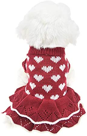 Christmas Small Dog Sweaters Female Girl Red Winter Warm Dog Princess Dress Clothes Dachshund product image