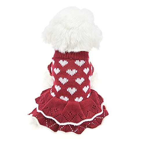 Christmas Small Dog Sweaters Female Girl Red Winter Warm Dog Princess Dress Clothes Dachshund Chihuahua Corgi (L(Bust 17.7inch), Red Heart)