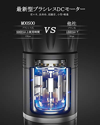 モーソーコードレス掃除機K13サイクロン式MooSoo13kpa強力吸引2way超軽量コンパクト二重モード