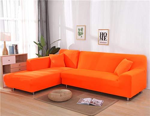 XCVBSofa Cover Sofa Stretch Couch Cover Kussenovertrekken voor Woonkamer Effen Kleur Elastische Sofa Cover voor L-vormige Hoekbank Chaise Longue, Oranje