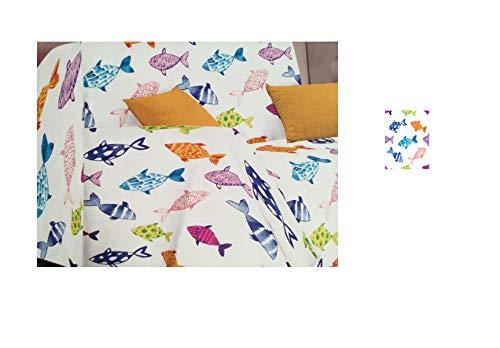 telo copridivano copri poltrona copriletto matrimoniale gran foulard copritutto stampa marina pesci beach 2 (singolo)