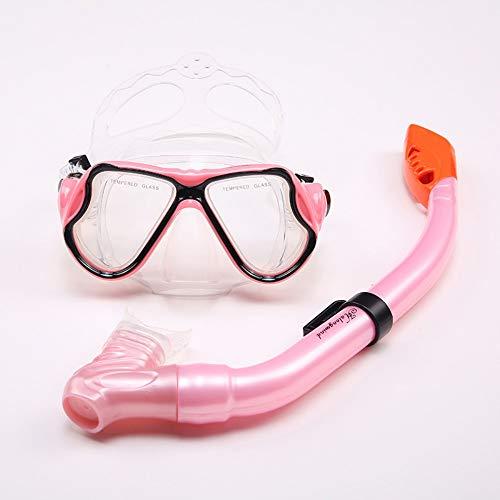 MHP High-End-Schnorchelanzug Flüssigsilikon-Schutzbrillen Taucherausrüstung voller trockener Schnorchel, pink