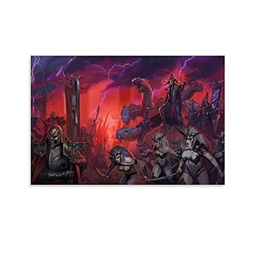Botkin Total War Warhammer 2 Elfes sombres Impression sur toile murale moderne pour chambre à coucher 50 x 75 cm
