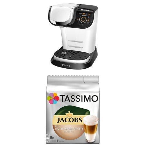 Bosch TAS6004 Multigetränkeautomat Tassimo My Way + Tassimo Jacobs Typ Latte Macchiato Classico, 5er Pack Kaffeespezialität T Discs