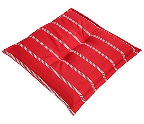 Dehner Sitzkissen Valencia, ca. 50 x 50 x 6 cm, Polyester, rot/weiß