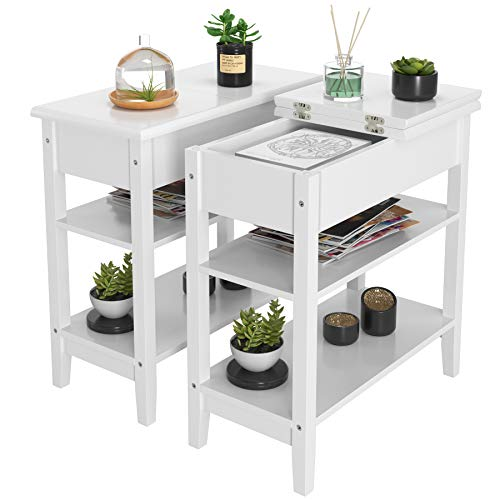 HOMECHO End Side Table with Double Shelves Wood Flip Top Sofa Table Compact Nightstand with Storage for Living Room, Bedroom, Home Office (2, Ivory White)