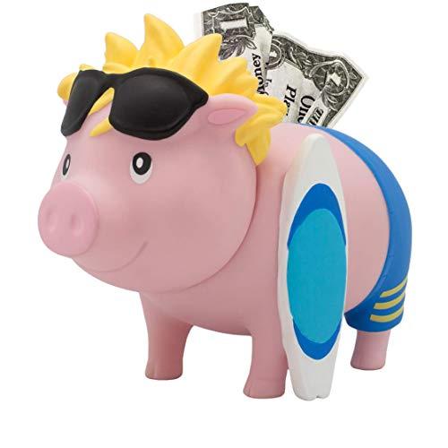 LILALU Spardose BIGGYS Surfer Sparschwein Kopf drehbar Sparbox Sparbüchse Münzeinwurf Piggy Bank Tresor Kinder