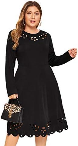 Romwe Women s Plus Size Elegant Long Sleeve Cut Out A Line Swing Stretchy Midi Dresses Black product image