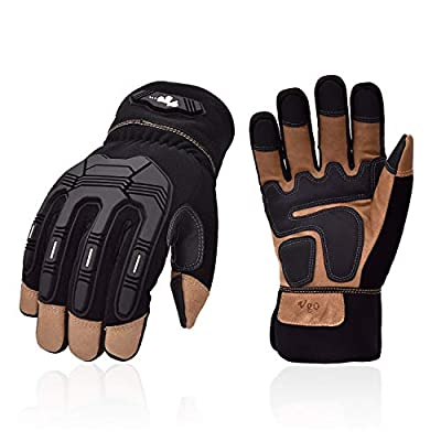 Vgo 1-Pair 32? or Above 3M Thinsulate Insulation C40 Lined Winter Touchscreen TPR Anti-Vibration Premium Pigskin Leather Heavy Duty Work Gloves (Size M, Black, PA7675FW)