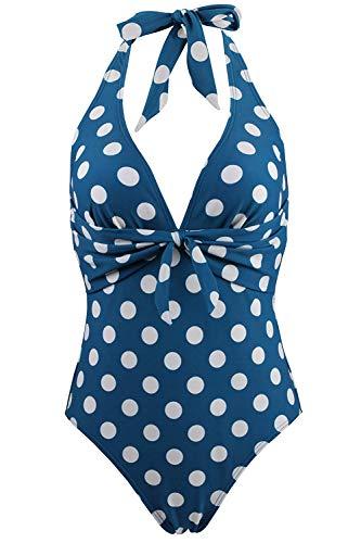 FUTURINO Damen Retro Badeanzug 50er Vintage Bikini V-Ausschnitt Polka Dots Print Halfter Fliege vorne Neckholder Bademodeset