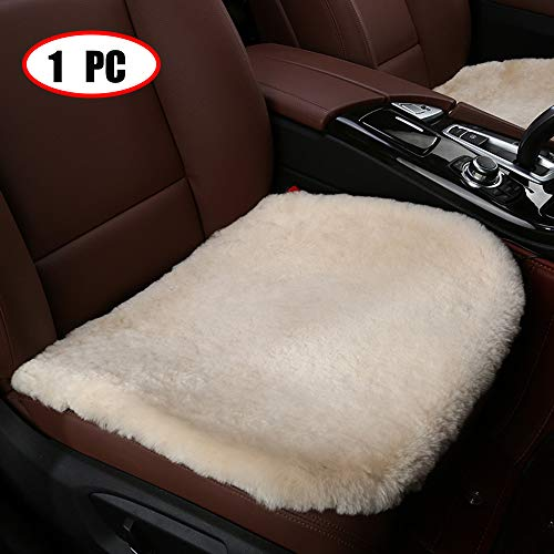 Dotesy Genuine Sheepskin Auto Front Seat Pad,Universal Fit Fuzzy Pure Wool Car Seat Cover Protector Cushion Soft Warm for Winter (Pearl White)