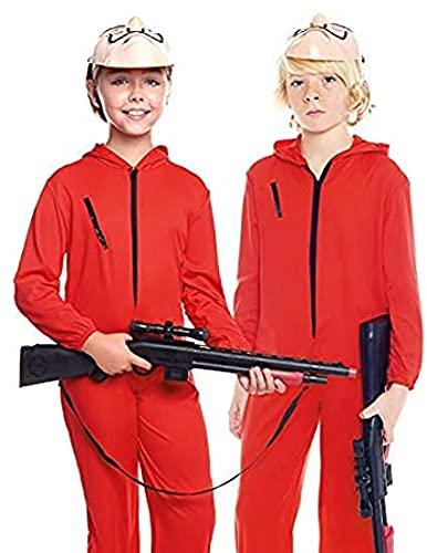 Partilandia Disfraz Mono Rojo Cremallera Traje de Cosplay Niños Niñas para Carnaval Halloween Teatro Actuaciones (niña roja, 4-6)