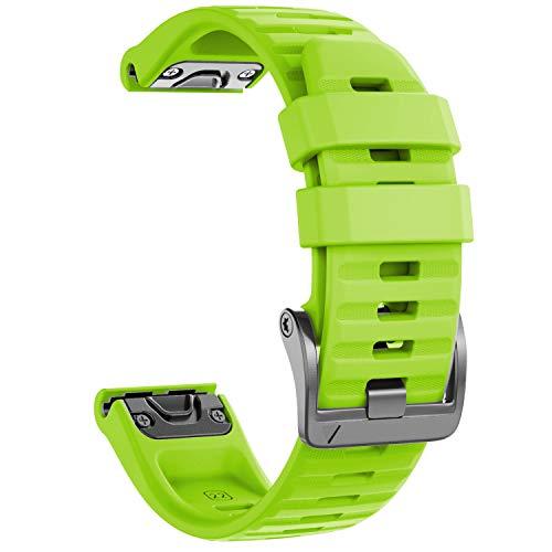 NotoCity Armband für Garmin Fenix 6/Fenix 6 Pro/Fenix 5/Fenix 5 Plus/Forerunner 935/945/Instinct, 22mm Breite Silikon Estrazarmband Quick-Fit Uhrenarmband für Garmin, Mehrfache Farben (Grün)