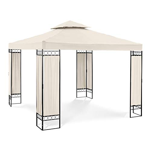 Uniprodo Outdoor Metal Patio Gazebo Square Garden Shade Ornamented 160 g/m² 3x3m Cream UNI_PERGOLA_3X3BF (Powder-coated Steel, Tarpaulin 160 g/m2, PA coating, Waterproof)
