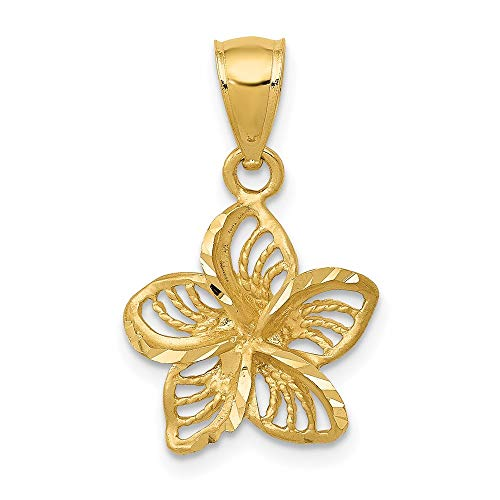 14k Yellow Gold and Beaded Plumeria Flower Charm Pendant
