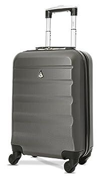 Aerolite ABS Bagage Cabine Bagage à Main Valise Rigide Légere à 4 roulettes, pour Ryanair, Easyjet, Air France, Lufthansa, Jet2 et Plus, Gris Foncé