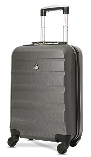 Aerolite Lightweight 55cm Hard Shell Cabin Luggage 4 Wheels Suitcase,...