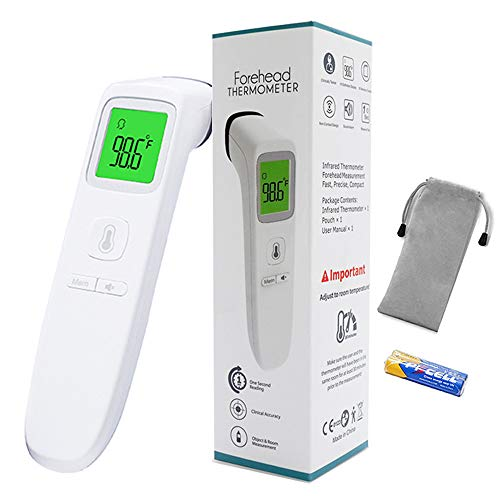 Forehead Thermometer, Digital Infrared Non-Contact Temporal with Instant Accurate Reading,Fever Alarm and Memory Function – Ideal for Babies, Infants, Children, Adults, Indoor, and Outdoor Use (White)