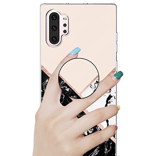 Nadoli Marmor Hülle für Galaxy Note 10 Plus,Prämie Glatt Flexibel Weich Bunt Marmor Muster Ultra Dünn Gummi Silikon Handyhülle Schutzhülle mit Ständer für Samsung Galaxy Note 10 Plus