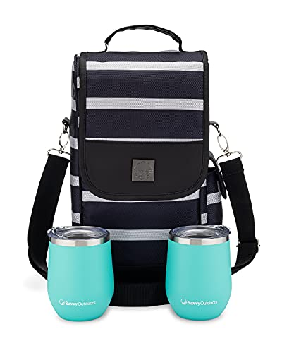 Wine Tote Bag with Stainless Steel Stemless Wine Glasses - 2 Bottle Wine Carrier Purse - Perfect For Travel, Events, Beach, Pool, Picnic & Mother's Day - Great Gift for Women, Wine Lovers - Striped