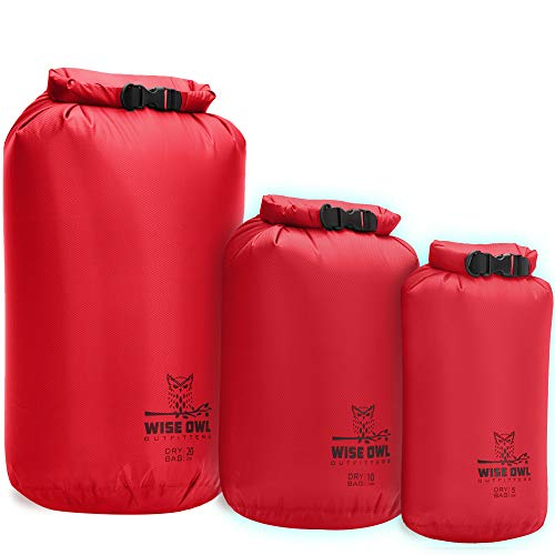 Wise Owl Outfitters Dry Bag 3-Pack - Fully Submersible Ultra Lightweight Airtight Waterproof Bags - Diamond Ripstop Roll-Top Drybag Sacks - 20L,10L, and 5L Red