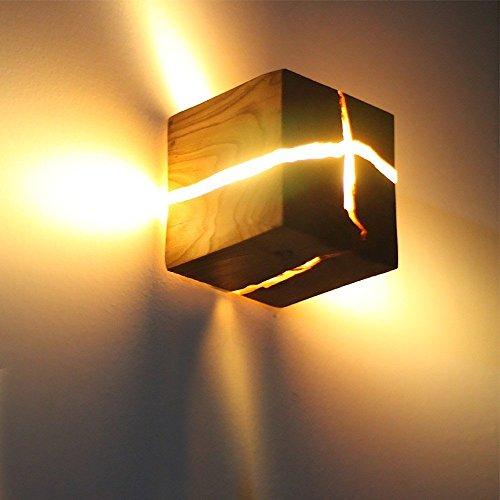 Holz Gerippt Wandlampen, LED Wandleuchte Kleine Nachtlicht Holz Gerippt Wandleuchte 5W Nachttisch Gang Gang Korridor Wandleuchten Innendekoration 3,14 * 3,14 * 3,14 Zoll [Energieklasse A +++]