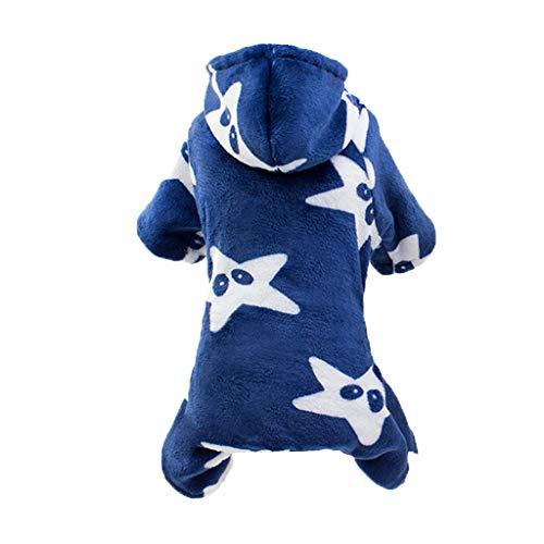Allegorly Hundekleidung Kapuzenpullover,Plüsch Hundemantel Hundejacke Hundepullover Hoodie Sternendruck Warm Winter Mantel Kostüm Sweatshirt Haustier Kleidung für Kleine Hunde, Welpen, Teddy, Pudel